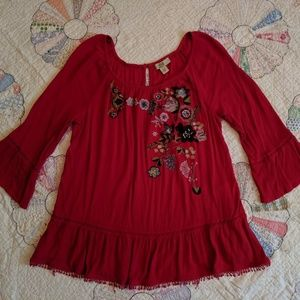 Vintage America Embroidered Floral Red Tunic
